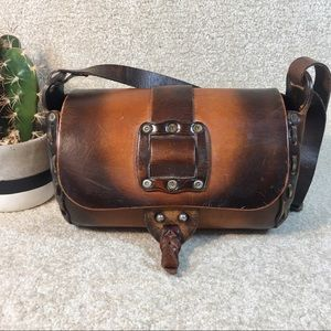 Vintage Hippie Boho Festival Bag Leather OOAK EUC